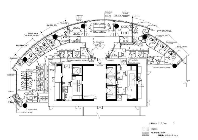 [上海]长城家俱-RafflesOffice室内装饰工程CAD施工图+效果图