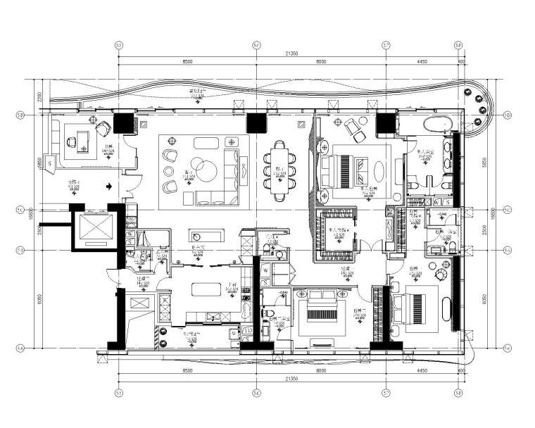 [福建]厦门五缘湾恒禾七尚四居室样板房施工图+深化设计方案+效果图