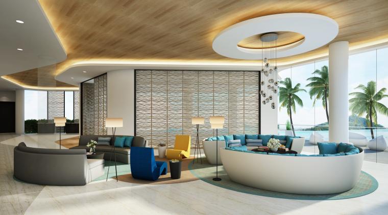 [海南]海南三亚山海天公寓二期5套样板房深化施工图+效果图+物料表-1(会所)