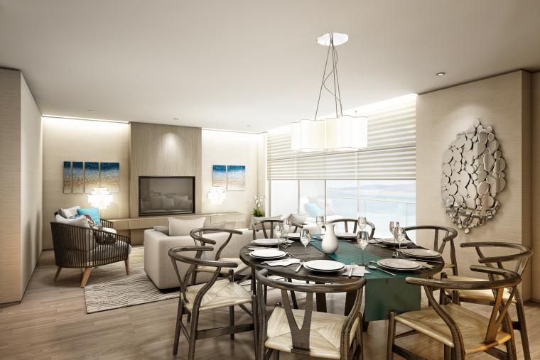 [海南]海南三亚山海天公寓二期5套样板房深化施工图+效果图+物料表-2(客厅)