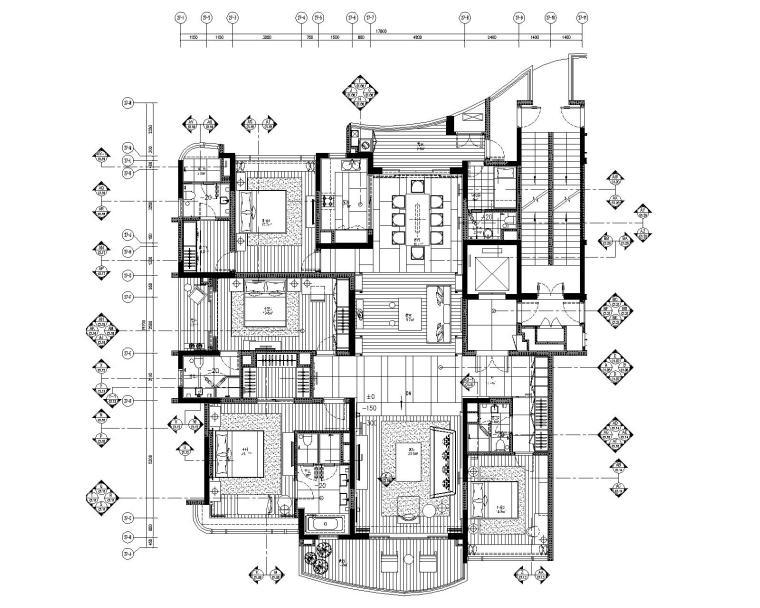 [广东]LTW--广州雅居乐样板间C1户型室内装修施工图(现代风格四居室)