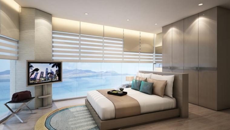 [海南]海南三亚山海天公寓二期5套样板房深化施工图+效果图+物料表-3(客卧)