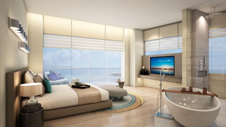 [海南]海南三亚山海天公寓二期5套样板房深化施工图+效果图+物料表-3(主卧)
