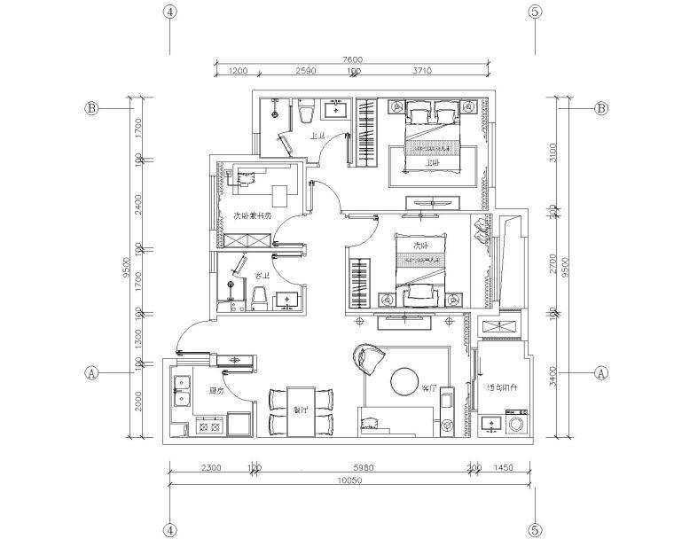 昆仑华府现代简约摩登风格三居室样板间cad施工图+效果图+设计说明