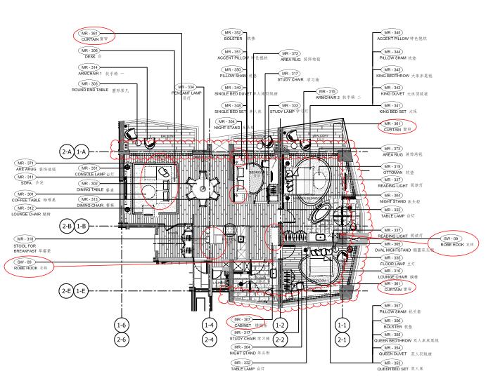 [海南]海南三亚山海天公寓二期5套样板房深化施工图+效果图+物料表-3C户型家具布置平面图