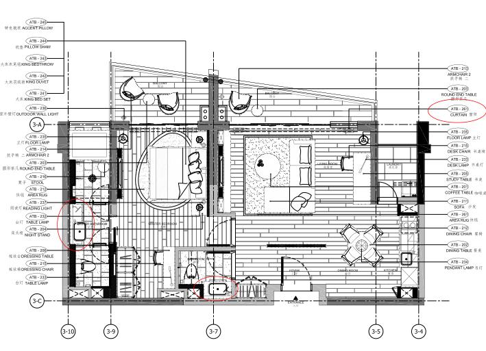 [海南]海南三亚山海天公寓二期5套样板房深化施工图+效果图+物料表-2B户型家具布置图平面图