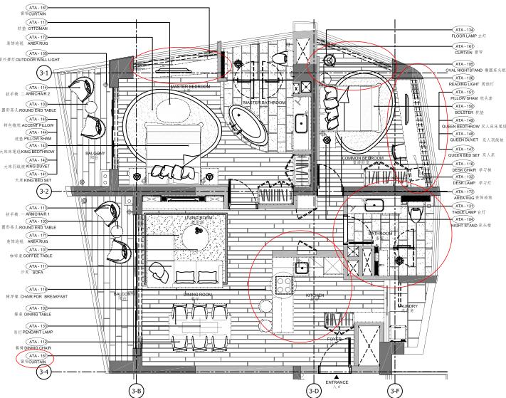 [海南]海南三亚山海天公寓二期5套样板房深化施工图+效果图+物料表-1A户型家具布置平面图