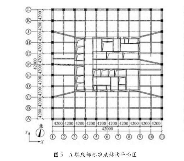 A 塔底部标准层结构平面图