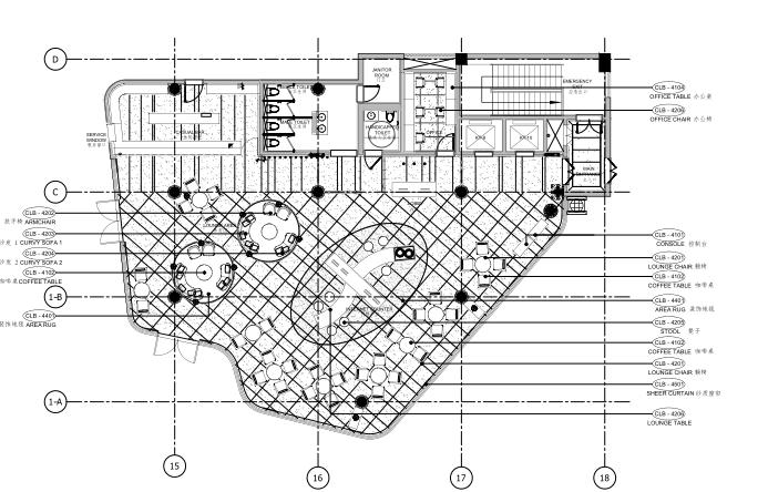[海南]海南三亚山海天公寓二期5套样板房深化施工图+效果图+物料表-6大堂会所平面布置图
