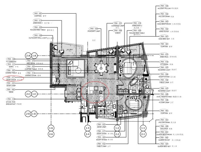 [海南]海南三亚山海天公寓二期5套样板房深化施工图+效果图+物料表-5E户型家具布置平面图
