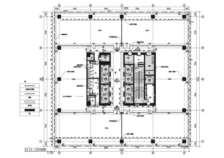 [上海]上海葛洲坝阳明置业葛洲坝大厦施工图-9,11,13层平面布置图