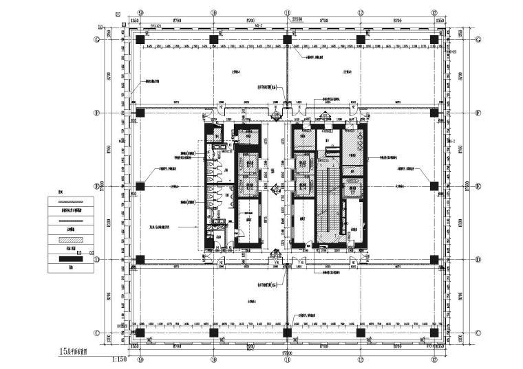 [上海]上海葛洲坝阳明置业葛洲坝大厦施工图-15层平面布置图