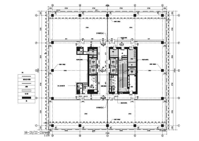 [上海]上海葛洲坝阳明置业葛洲坝大厦施工图-16-20,22-23层平面布置图