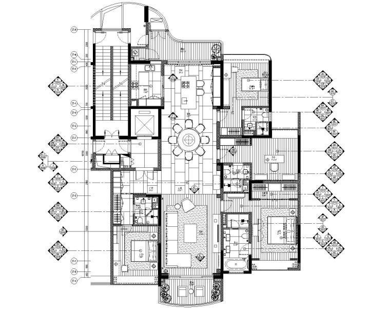 [广东]LTW--广州雅居乐样板间C2户型室内装修施工图(现代风格三居室)
