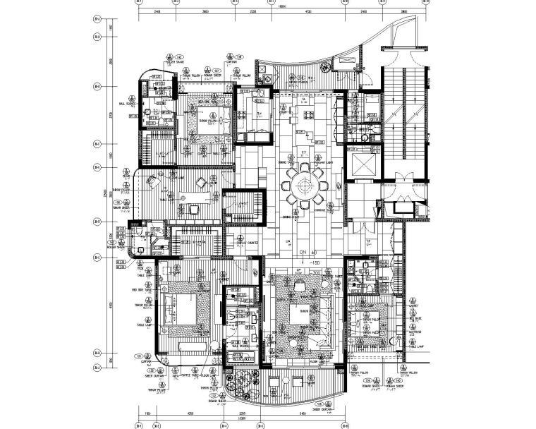 [广东]LTW--广州雅居乐样板间B户型室内装修施工图(现代风格三居室)