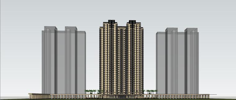 [山东]绿地中心住宅+主入口围墙建筑模型设计-禅城知名地产中心 住宅-B+主入口围墙 (4)