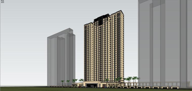 [山东]绿地中心住宅+主入口围墙建筑模型设计-禅城知名地产中心 住宅-B+主入口围墙 (2)