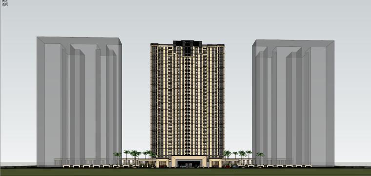 [山东]绿地中心住宅+主入口围墙建筑模型设计-禅城知名地产中心 住宅-B+主入口围墙 (3)
