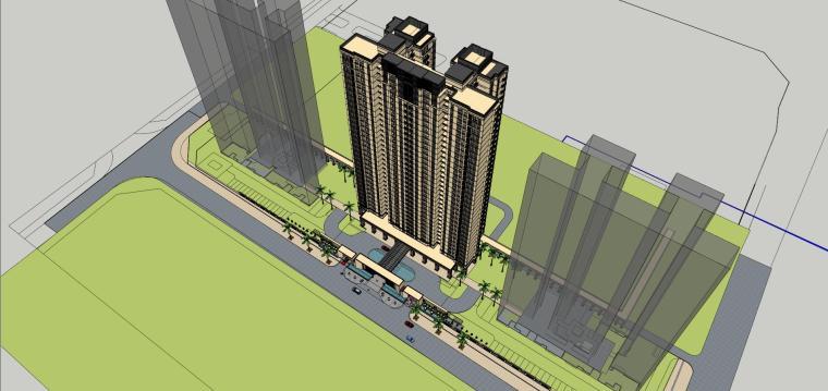 [山东]绿地中心住宅+主入口围墙建筑模型设计