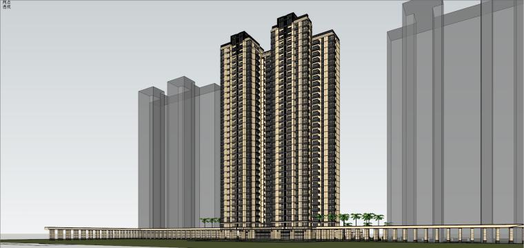 [山东]绿地中心住宅+主入口围墙建筑模型设计-禅城知名地产中心 住宅-B+主入口围墙 (5)