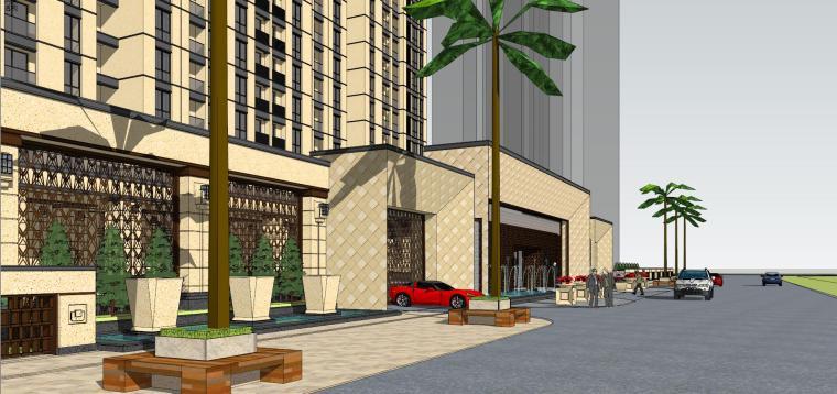 [山东]绿地中心住宅+主入口围墙建筑模型设计-禅城知名地产中心 住宅-B+主入口围墙 (6)