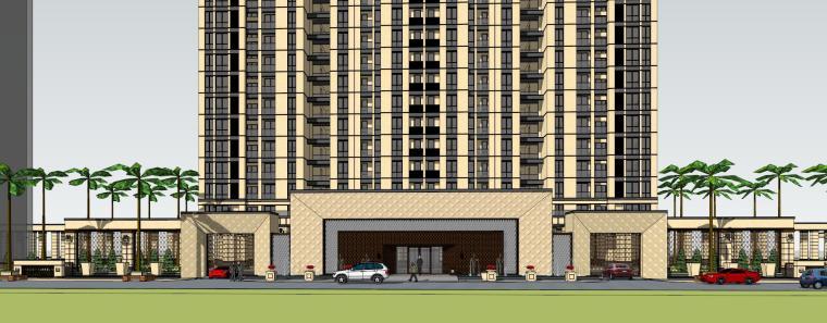 [山东]绿地中心住宅+主入口围墙建筑模型设计-禅城知名地产中心 住宅-B+主入口围墙 (7)