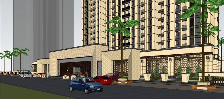 [山东]绿地中心住宅+主入口围墙建筑模型设计-禅城知名地产中心 住宅-B+主入口围墙 (8)