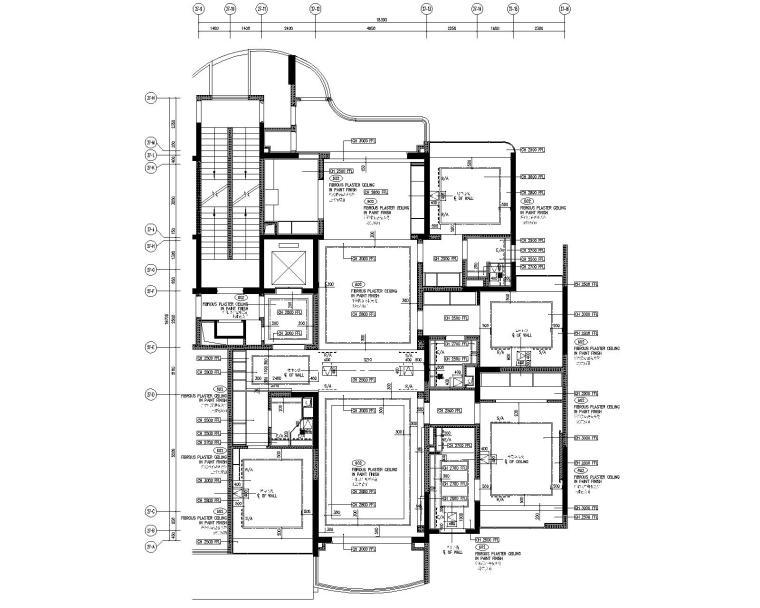 [广东]LTW--广州雅居乐样板间C2户型室内装修施工图(现代风格三居室)-3天花平面图