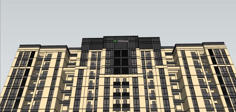[山东]绿地中心住宅+主入口围墙建筑模型设计-禅城知名地产中心 住宅-B+主入口围墙 (11)