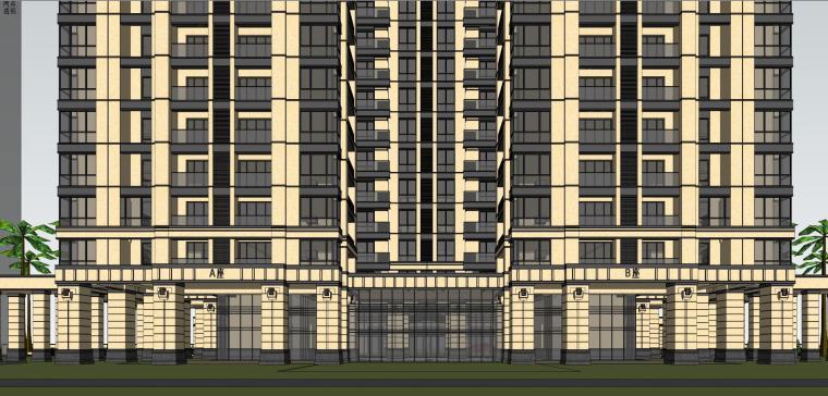 [山东]绿地中心住宅+主入口围墙建筑模型设计-禅城知名地产中心 住宅-B+主入口围墙 (12)