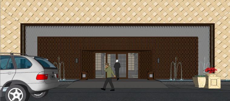 [山东]绿地中心住宅+主入口围墙建筑模型设计-禅城知名地产中心 住宅-B+主入口围墙 (9)