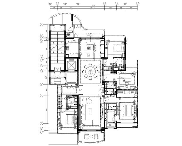 [广东]LTW--广州雅居乐样板间C2户型室内装修施工图(现代风格三居室)-4电力平面图