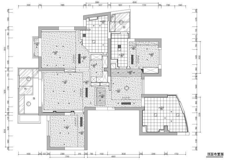 [浙江]杭州林风花园映水苑2号楼样板间图纸-顶面布置图