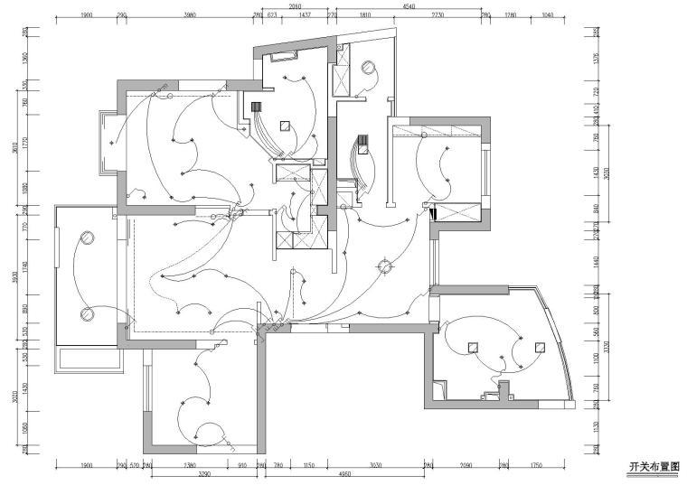 [浙江]杭州林风花园映水苑2号楼样板间图纸-开关布置图