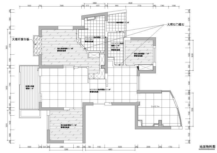 [浙江]杭州林风花园映水苑2号楼样板间图纸-地面铺装图