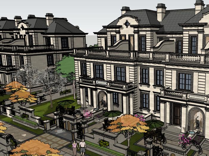 欧陆风格联排别墅建筑模型设计(水石国际)