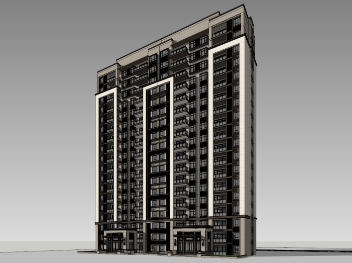 中式一梯两户住宅建筑模型设计(水石国际)
