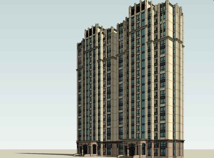 新古典高层住宅建筑模型设计
