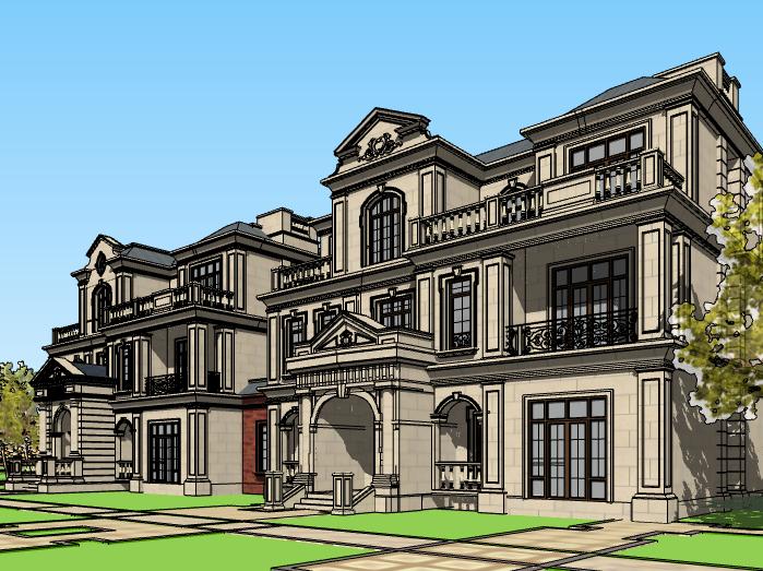 法式三层联排别墅建筑模型设计(水石国际)