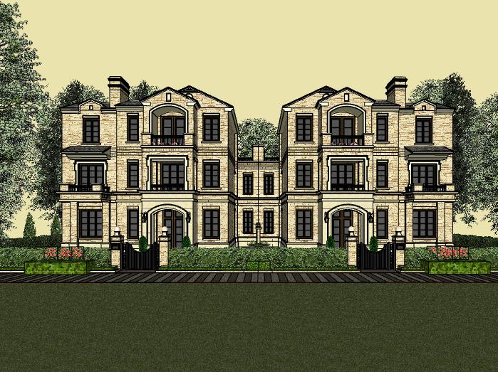 三层联排别墅建筑模型设计(水石国际)