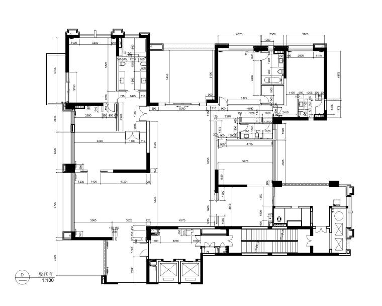 后现代奢华风格三居室别墅公寓室内装修施工图+效果图-4放线图