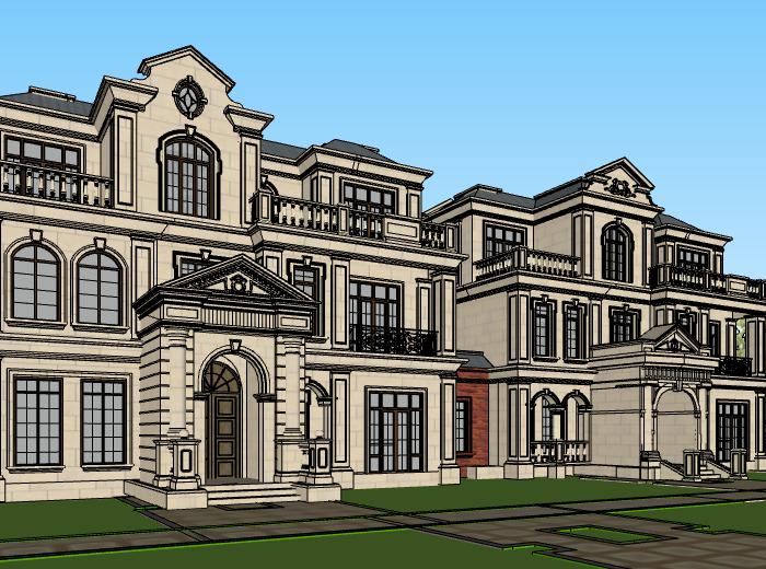 法式三层联排别墅建筑模型设计(水石国际)-别墅建筑SU模型3