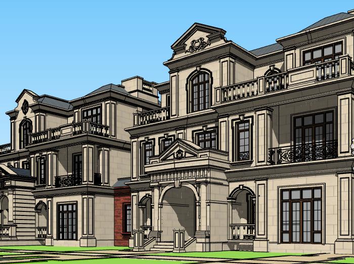 法式三层联排别墅建筑模型设计(水石国际)-别墅建筑SU模型2