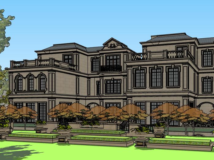 法式三层联排别墅建筑模型设计(水石国际)-别墅建筑SU模型4