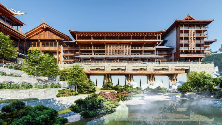 中式山地五星级酒店建筑模型设计(中式风格设计)