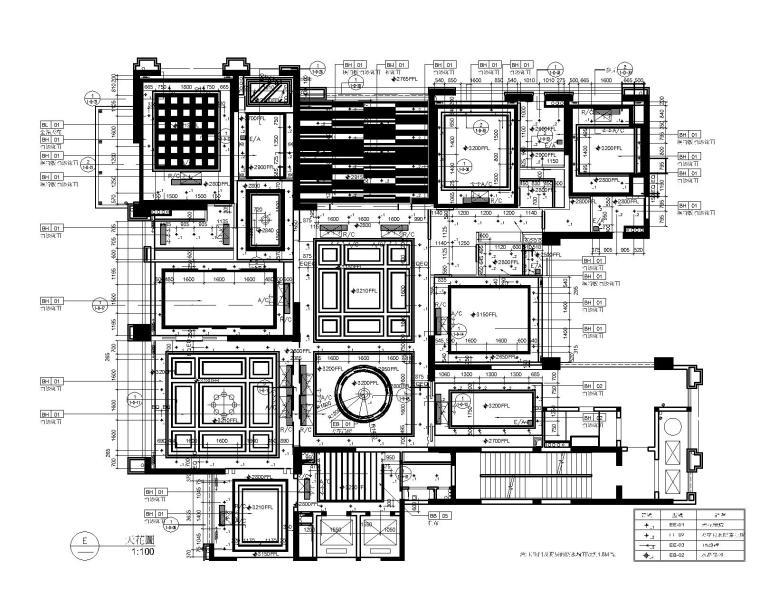 后现代奢华风格三居室别墅公寓室内装修施工图+效果图-5天花图