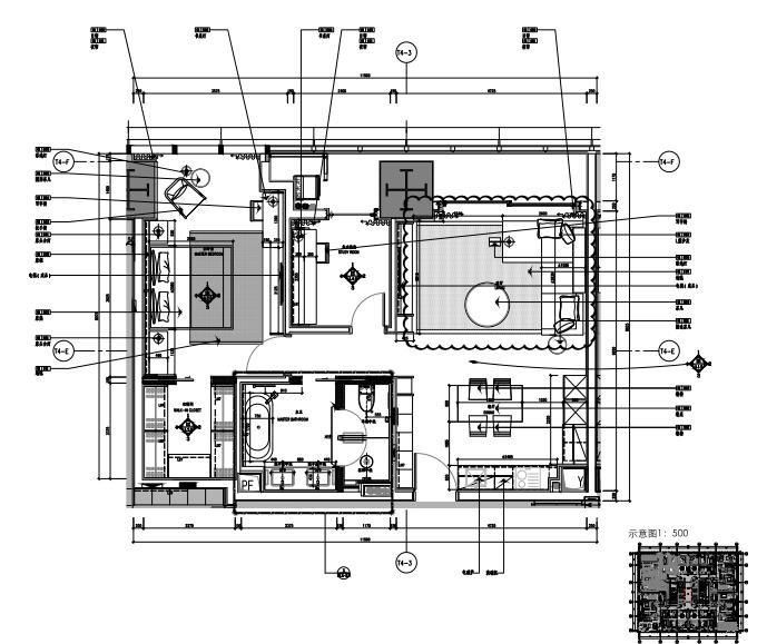 华润公寓A户型样板间室内装修施工图+效果图+物料表