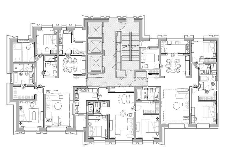 [天津]中信城市广场项目二期R1成品房施工图-平面布置图