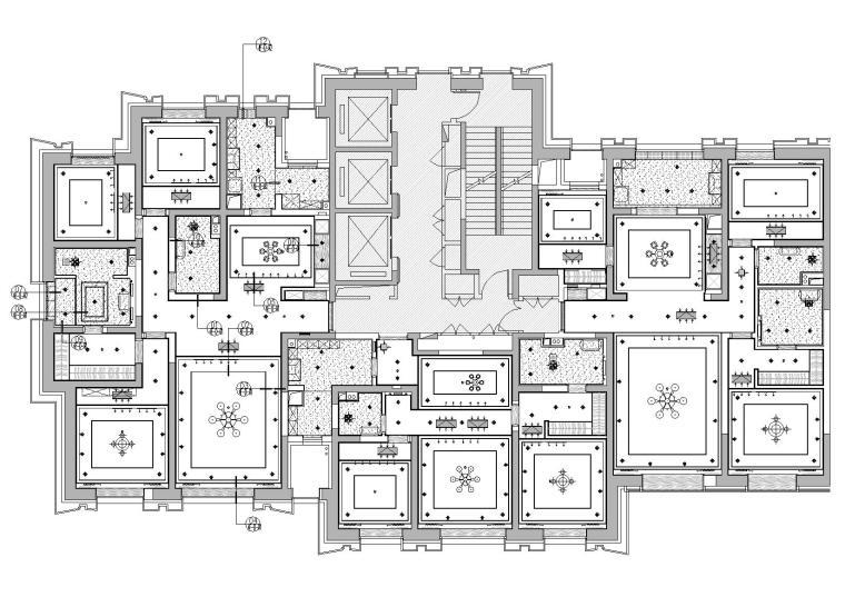 [天津]中信城市广场项目二期R1成品房施工图-天花布置图