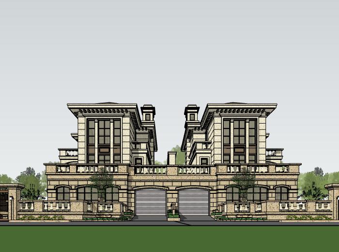 欧陆风格联排别墅建筑模型设计